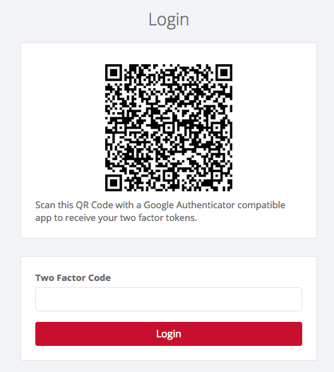 Example Two Factor Login Page